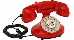 telefono antiguo rojo de ruedas